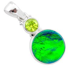 4.45cts northern lights aurora opal (lab) peridot 925 silver pendant t25991