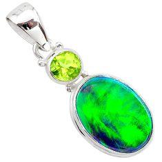 4.46cts northern lights aurora opal (lab) peridot 925 silver pendant t25994