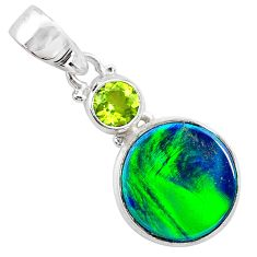 4.07cts northern lights aurora opal (lab) peridot 925 silver pendant t26001