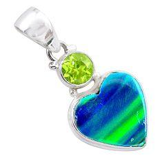 4.37cts northern lights aurora opal (lab) peridot 925 silver pendant t26005
