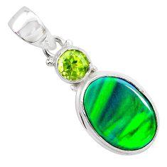 4.45cts northern lights aurora opal (lab) peridot 925 silver pendant t26010