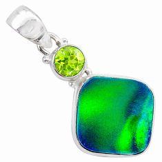 4.84cts northern lights aurora opal (lab) peridot 925 silver pendant t26014