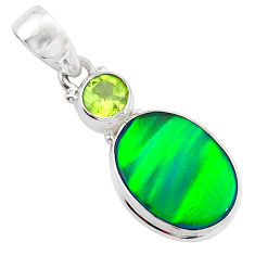 4.77cts northern lights aurora opal (lab) peridot 925 silver pendant t26017