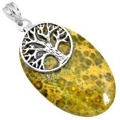 32.30cts ocean sea jasper (madagascar) 925 silver tree of life pendant r91248