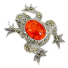 Orange amber marcasite 925 sterling silver frog pendant jewelry c22841