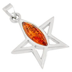 2.89cts orange amber marquise 925 sterling silver star pendant a94538 c24379