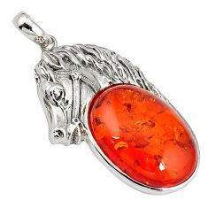 Orange amber oval shape 925 sterling silver horse pendant jewelry c22582