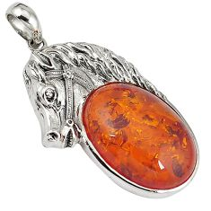 Orange amber oval shape 925 sterling silver horse pendant jewelry c22595