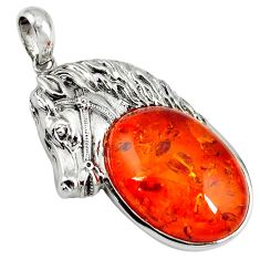 Orange amber oval shape 925 sterling silver horse pendant jewelry c22597