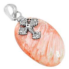 30.41cts orange scolecite high vibration crystal 925 silver cross pendant r90812