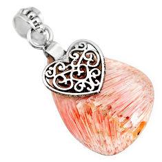15.34cts orange scolecite high vibration crystal 925 silver heart pendant r90814