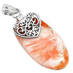 20.10cts orange scolecite high vibration crystal 925 silver heart pendant r90816
