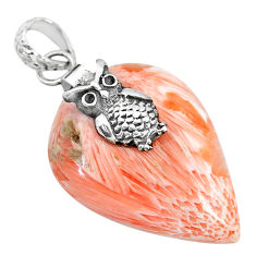 23.81cts orange scolecite high vibration crystal 925 silver owl pendant r90811