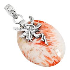 21.09cts orange scolecite high vibration crystal silver angel pendant r90818