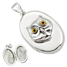 14.89gms owl natural black onyx 925 silver gold poison box pendant c26646