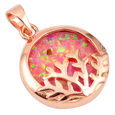 4.16cts pink australian opal (lab) 925 silver 14k gold pendant a61766 c15427