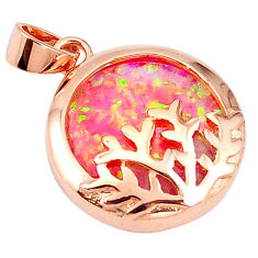 4.17cts pink australian opal (lab) 925 silver 14k gold pendant a61771 c15436