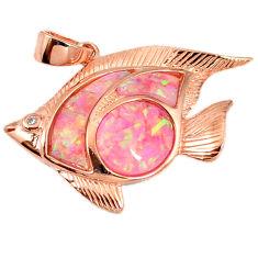 Pink australian opal (lab) 925 silver 14k rose gold fish pendant a61742 c15238