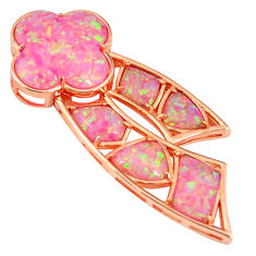 Pink australian opal (lab) 925 silver 14k rose gold pendant a61696 c15308