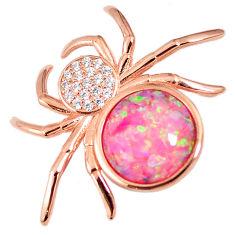 Pink australian opal (lab) 925 silver 14k rose gold spider pendant a61616 c15448