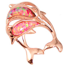 Pink australian opal (lab) 925 silver rose gold dolphin pendant a61619 c15236