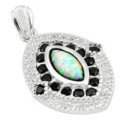 3.06cts pink australian opal (lab) black onyx 925 silver pendant a89108 c24381