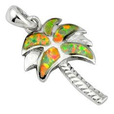 Pink australian opal (lab) enamel 925 silver palm tree pendant jewelry c15641