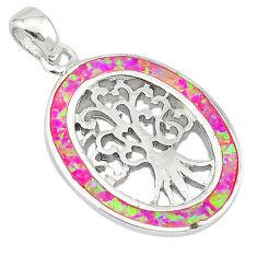 Pink australian opal (lab) enamel 925 silver tree of life pendant a74243 c24441