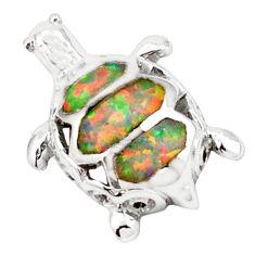Pink australian opal (lab) enamel 925 silver turtle pendant jewelry c15680