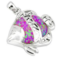 Pink australian opal (lab) enamel 925 sterling silver fish pendant c15701