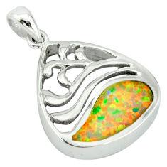 Pink australian opal (lab) enamel 925 sterling silver pendant jewelry c15607