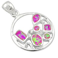 Pink australian opal (lab) enamel 925 sterling silver pendant a74255 c24396