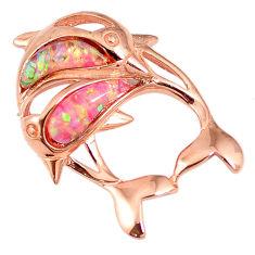 Pink australian opal (lab) silver 14k rose gold dolphin pendant a61611 c15226