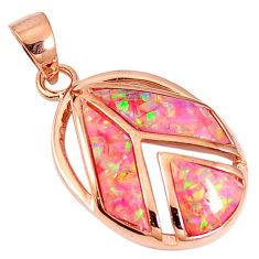 Pink australian opal (lab) sterling silver 14k rose gold pendant a61582 c15424