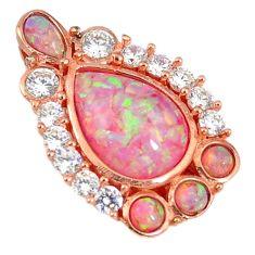 Pink australian opal (lab) topaz 925 silver 14k rose gold pendant a61688 c15460