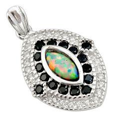3.31cts pink australian opal (lab) topaz 925 sterling silver pendant c9998