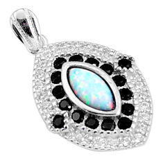 4.53cts pink australian opal (lab) topaz sterling silver pendant a96642 c24383