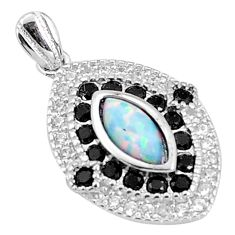 4.53cts pink australian opal (lab) topaz sterling silver pendant a96651 c24388