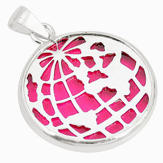 Pink bling topaz (lab) 925 sterling silver pendant jewelry c21931