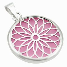 Pink bling topaz (lab) round 925 sterling silver pendant jewelry c23145