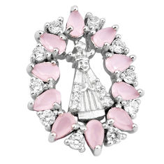 Pink chalcedony white topaz 925 sterling silver pendant jewelry c19944