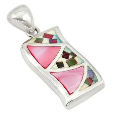 Pink pearl abalone paua seashell 925 silver pendant jewelry a69704 c14426
