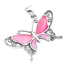 5.69gms pink pearl enamel 925 sterling silver butterfly pendant a88474 c14914