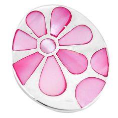 Pink pearl enamel 925 sterling silver flower pendant jewelry a55597 c14477
