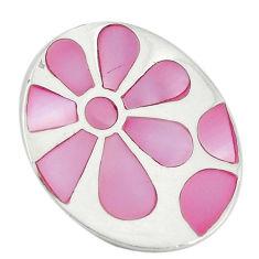 Pink pearl enamel 925 sterling silver flower pendant jewelry a74729 c14474