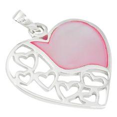 Pink pearl enamel 925 sterling silver heart pendant jewelry a66692 c14890