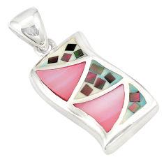 Pink pearl enamel 925 sterling silver pendant jewelry a75981 c14433