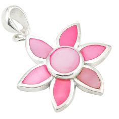 Pink pearl enamel 925 sterling silver pendant jewelry a77526 c14479