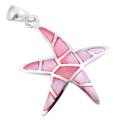 4.47gms pink pearl enamel 925 sterling silver star fish pendant a88617 c14468