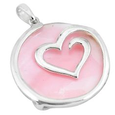 16.49cts pink pearl round 925 sterling silver heart pendant a88672 c14587